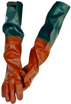 64 cm lange, beschichtete PVC-Arbeitshandschuhe