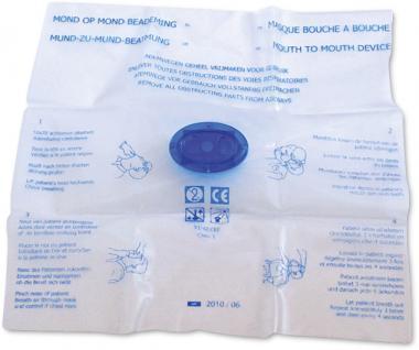 Beatmungsmaske mit Kunststoffmundstück u. Rückschlagventil