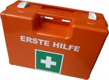 Erste-Hilfe-Koffer DIN 13169 orange mit Wandhalterung (Betriebsverbandkasten)