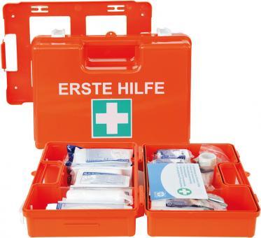 Erste-Hilfe-Koffer DIN 13157 orange mit Wandhalterung (Betriebsverbandkasten)