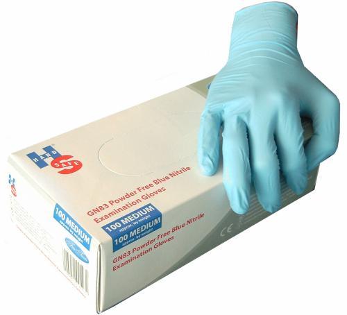 100 blaue Nitril-Untersuchungshandschuhe