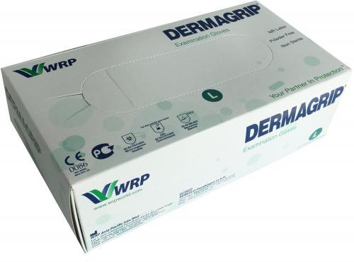 100 puderfreie DERMAGRIP Latex-Einmalhandschuhe