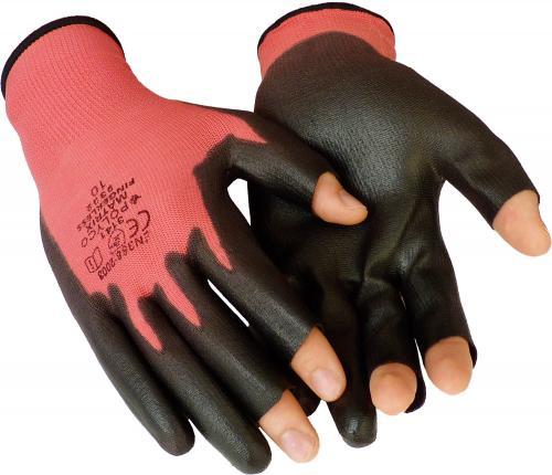 Nylonhandschuhe mit PU-Beschichtung und 3 freien Fingerkuppen