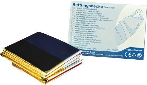 Rettungsdecke gold / silber, 210 x 160 cm