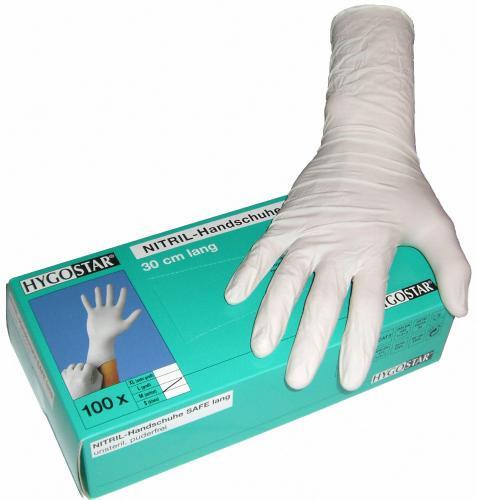 100 puderfreie Nitril-Einmalhandschuhe